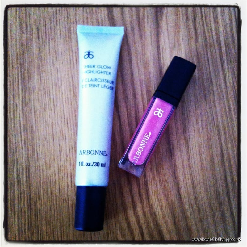 arbonne sheer glow highlighter and posh lip polish