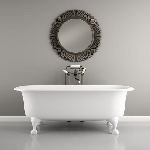 A roll top bath gives a look of elegance to a luxurious bathroom - imagine soaking in a bath of bubbles sipping a glass of wine.
