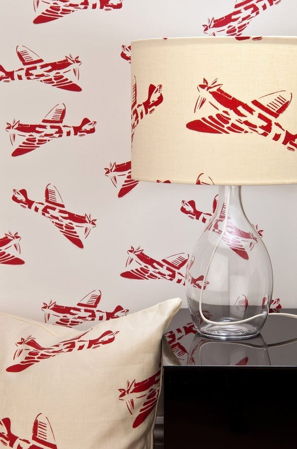 aerolplane wallpapered lampshade for boys room