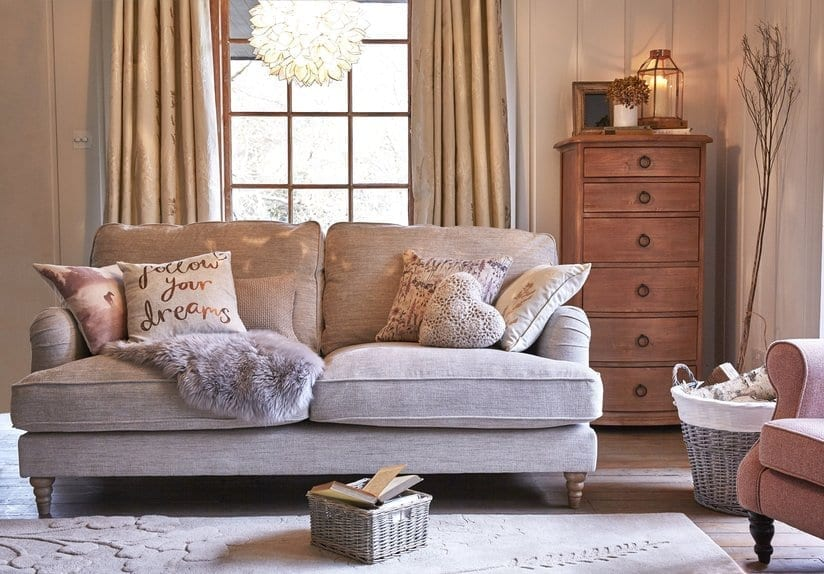 shabby chic living room with rustic hues