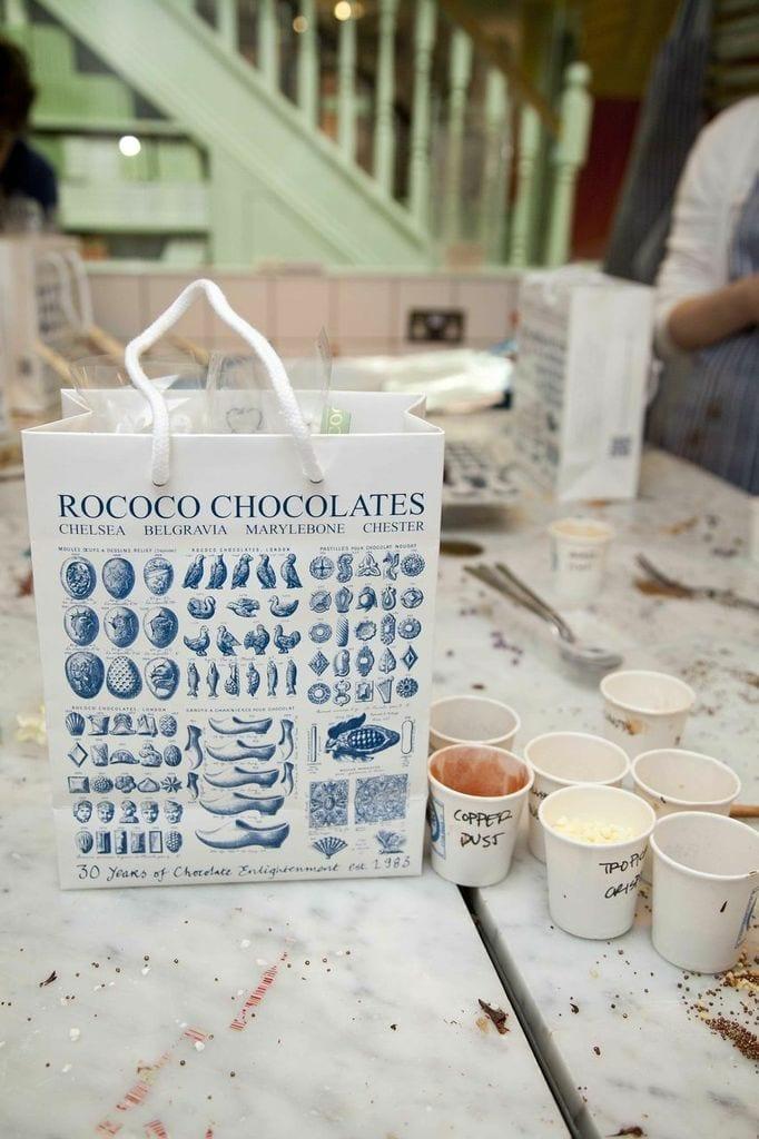 chocolate tasting at rococo chocolates