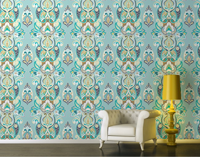 Wallpaper wednesday indulgence turquoise by yuyu design for Turquoise wallpaper for bedroom