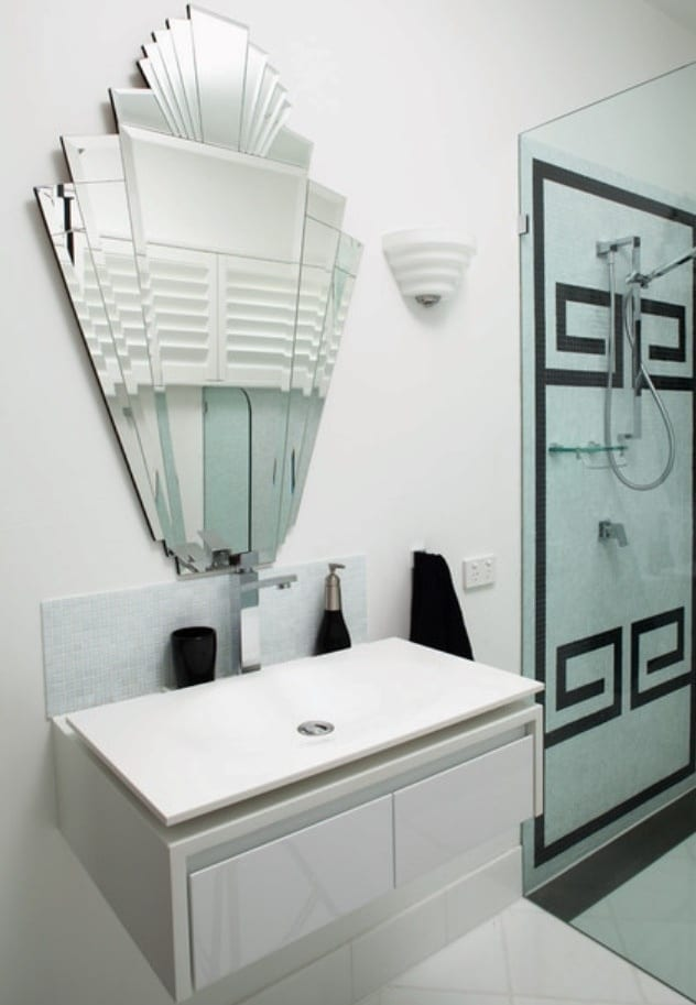 How to create an art deco contemporary bathroom love chic living - Deco toilet ontwerp ...