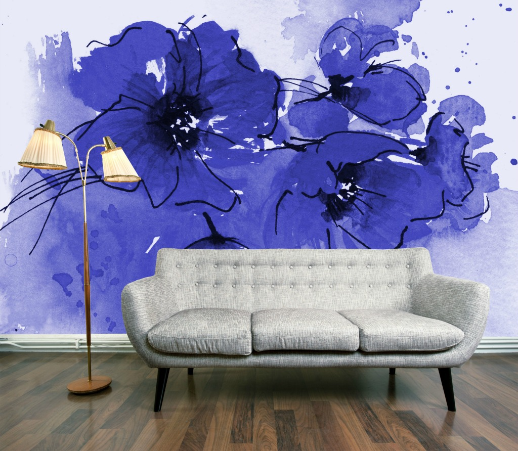 Wallpaper wednesday indigo poppy mural by digetexhome for Mural wallpaper