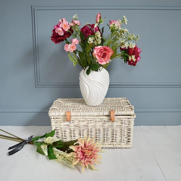 MiaFleur- Artificial Peony and Rose Bouquet with Swirl Vase £81.95 and B...