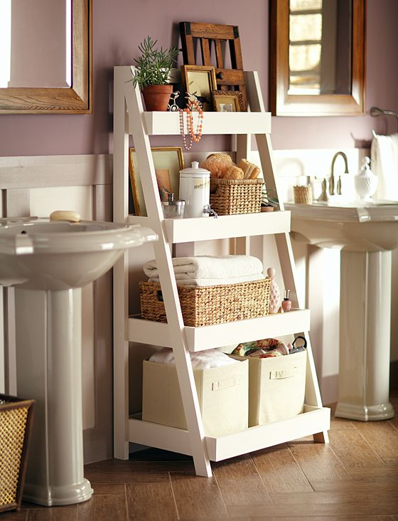 leaning bathroom shelving
