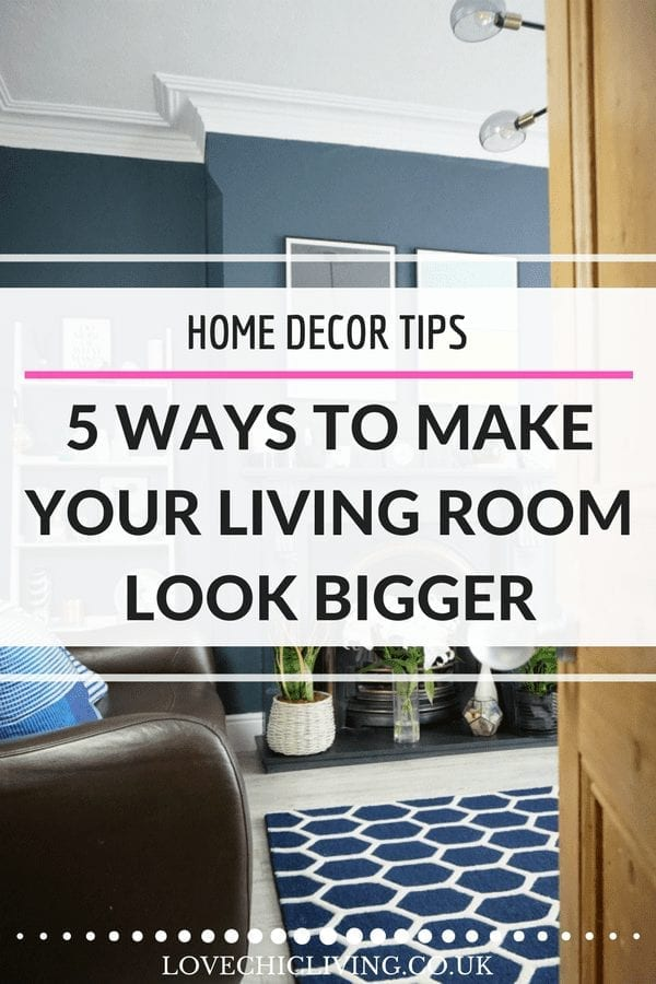If you're longing for more living room space but not sure how to get it, take a look at these fabulous home decor tips and ideas for making your living room look bigger. Illusion of space is essential in a small living room - which of these design tricks have you not used yet? #lovechicliving #livingroom #smalllivingroom