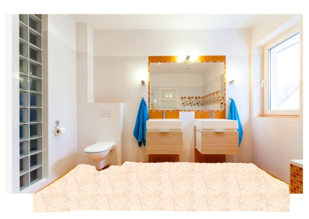 limestone bathroom floor