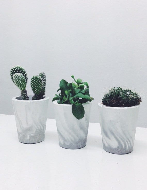 concrete marbled planter