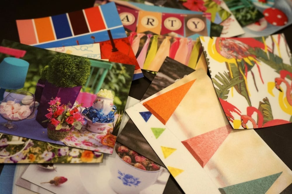 Moodboard images for a summer garden party