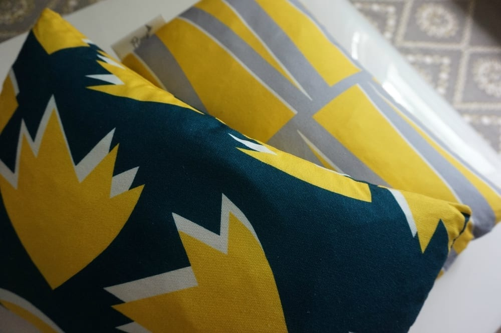 Flock Cushions Sunny Toddy Prints design