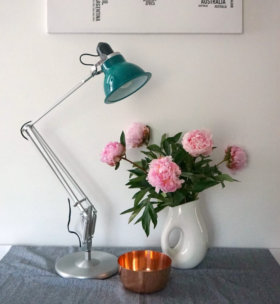 anglepoise lamp with copper accessory