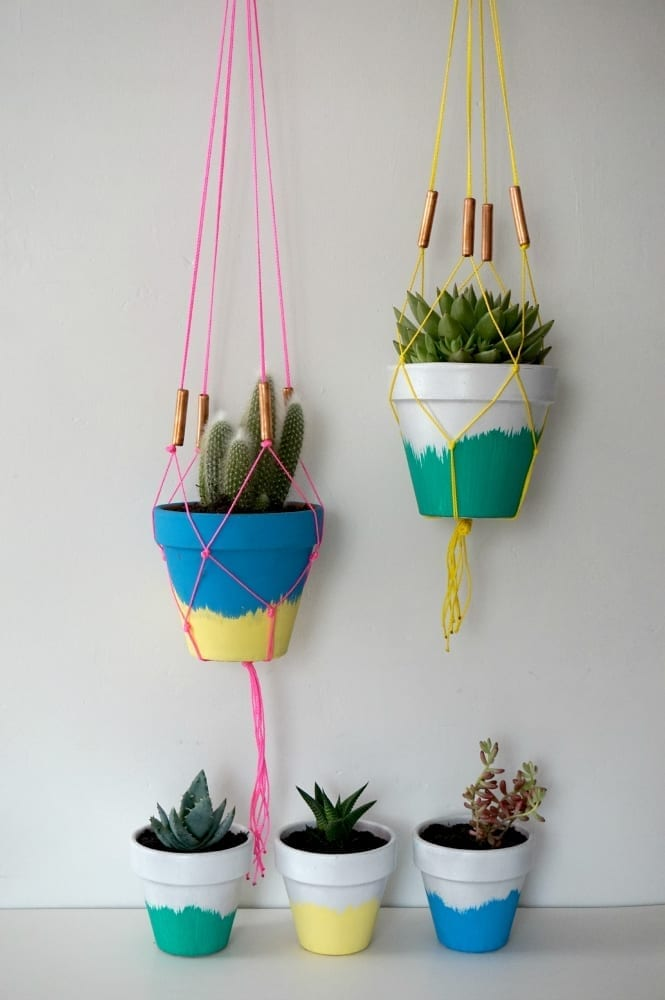DIY planter and macrame hangers