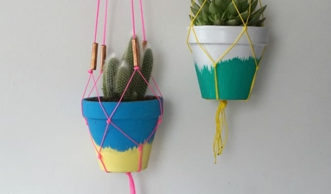 DIY Succulent Planters and Macrame Hangers Tutorial