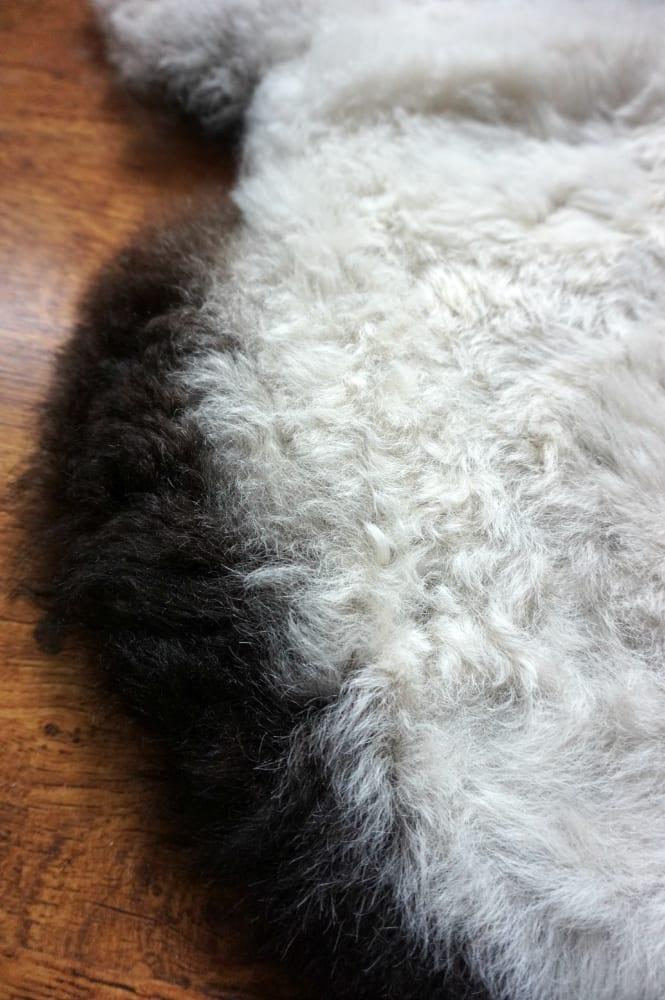 Icelandic sheepskin rug close up