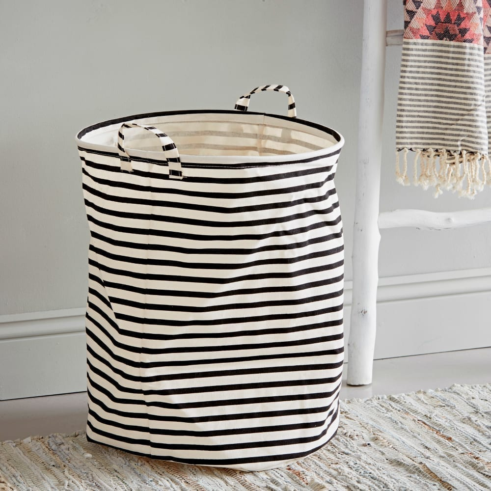 Black and White Fabric Laundry Bin