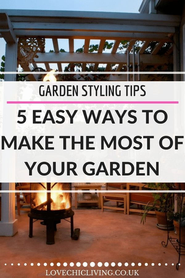 5 easy ways to make the most of your garden all year round - great advice and ideas on how to make your garden season friendly no matter what the time of year. If you love using your garden in all weathers, here's what you need to do #lovechicliving #gardenideas