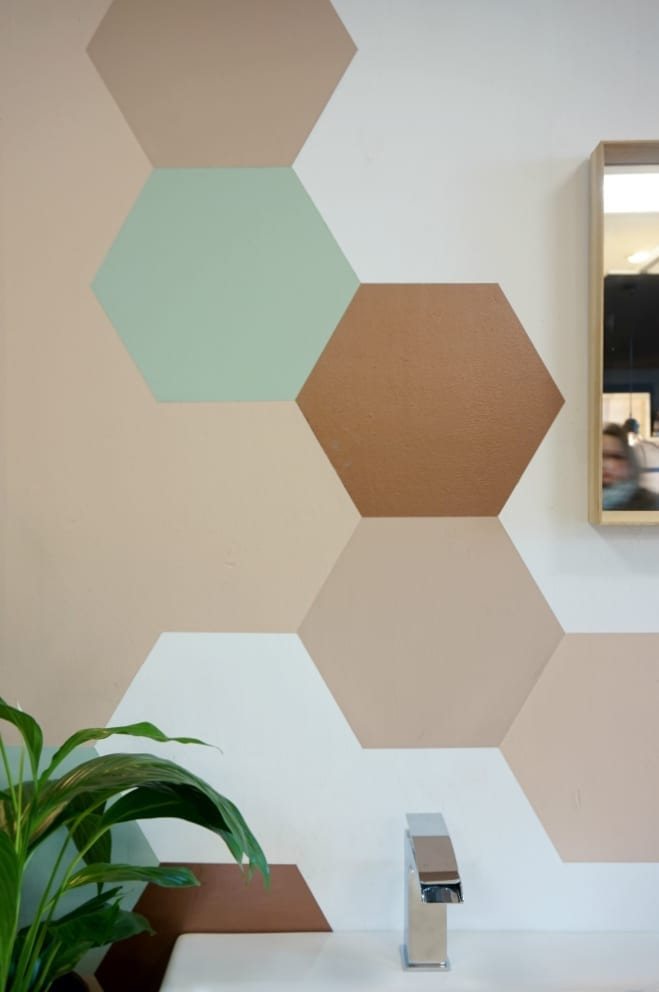 bathroom hexagons