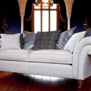 monochrome animal print chesterfield style sofa
