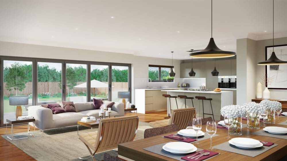 The pros and cons of open plan living love chic living for Open plan dining and living room