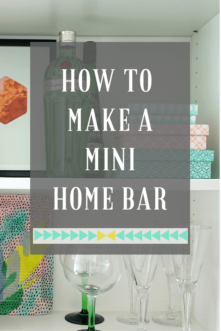 Ideas, tips and advice on how to put together a mini home bar anywhere in your home, using an existing space, shelves, bookcase or even a small bar cart. Here's how you make it stylish as well as practical.
