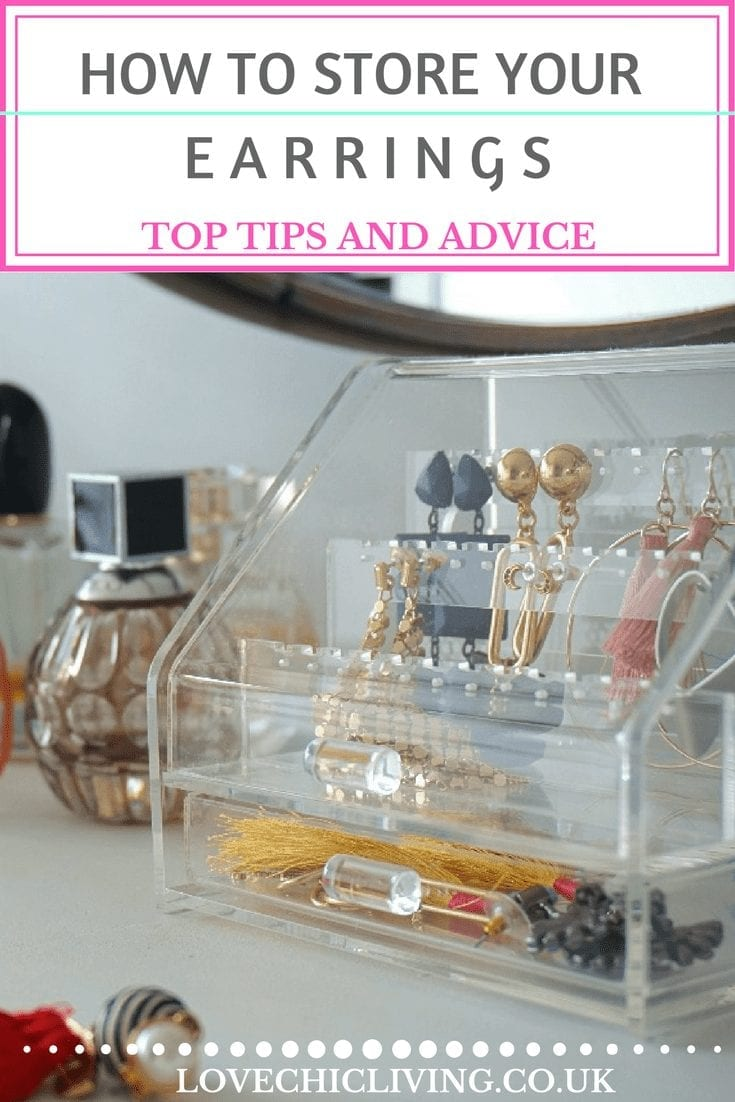 If, like me, your earrings always end up in a tangled mess you need some better jewellery storage solutions. This acrylic earring box is perfect for earring storage and such a great idea to keeping them neat and tidied away. Plus you can always see what you've got! #lovechicliving #jewellerystorage #earrings