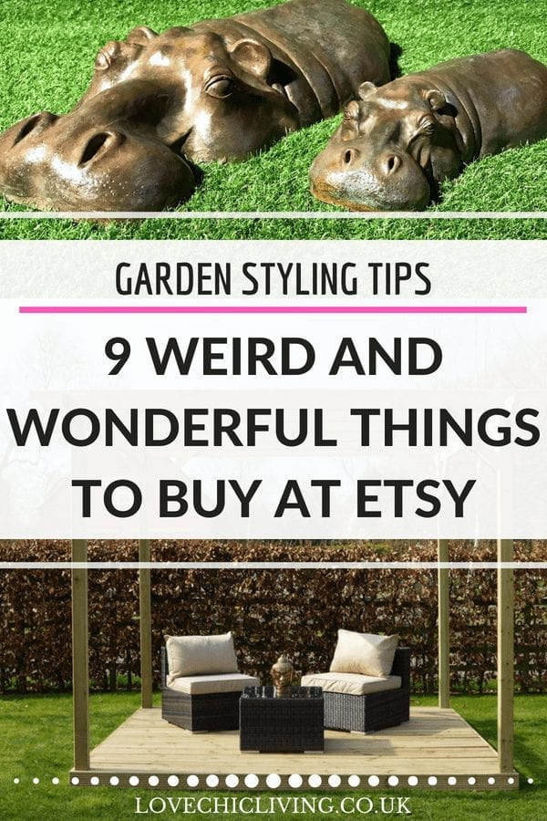 Looking to at some wow factor to your garden? Want a statement garden decor piece to make the neighbours envious? Look no further - here are 9 weird and wonderful garden decor ideas you can buy at Etsy - which is your favourite? #lovechicliving #gardendecor #gardenstyling