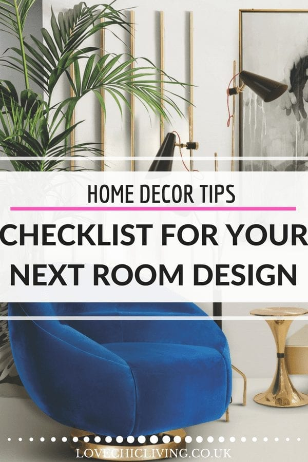 If you're always overwhelmed by decorating, you need this handy checklist to help you with interior design. It walks you through exactly what you need to tackle and in what order so you get the home decor design you want and love. And yes, we talk about why you'll need new door handles! #lovechicliving #homedecor #roomdesigntips #interiordesigntips