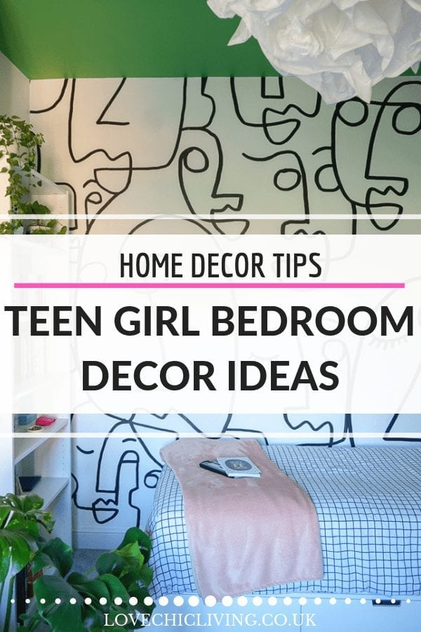 We love these teen bedroom decor ideas, particularly if you want a bold ceiling, wall mural and dramatic design. Ideal for a girl who loves design and brilliant if you're looking for teenage girl bedroom inspiration #teengirlbedroom #teenagebedroomideas #teenbedroomideas #teenbedroommakeover #greenceiling #wallmural #muralswallpaper #valspar #lovechicliving
