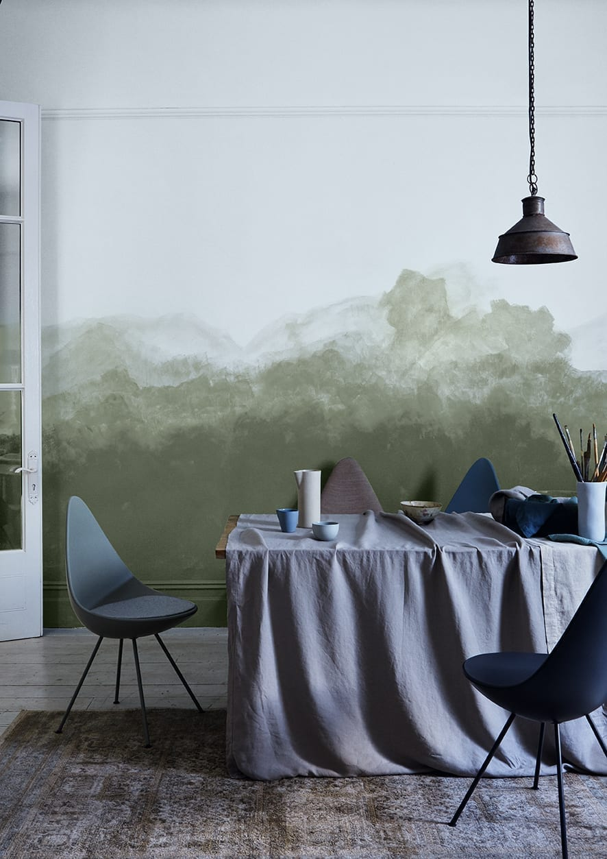 Beautiful washed painted wall in a dining room