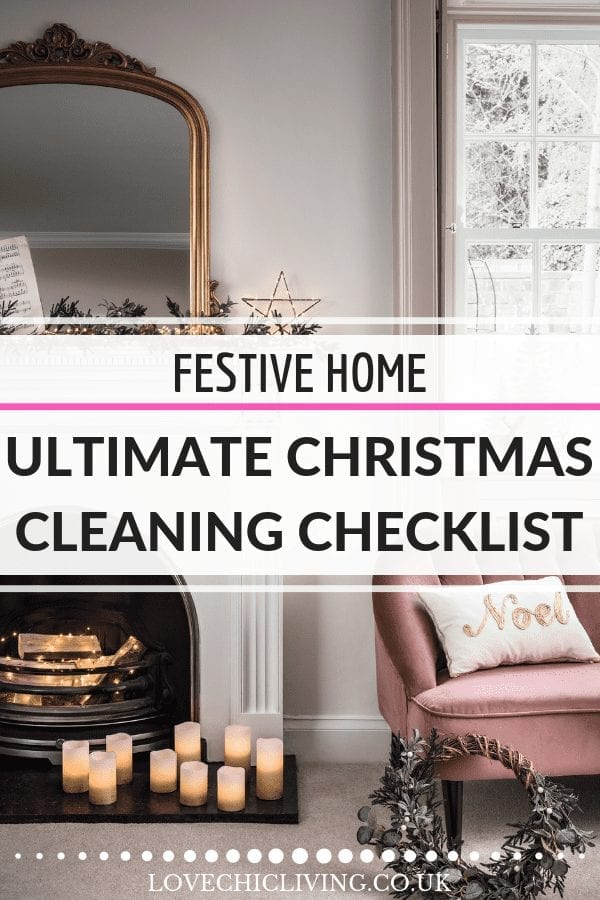 Looking for some tips to help get your home clean for the holidays? Check out this Christmas cleaning checklist with ideas and advice on what to clean and when so you can relax during the holidays. #christmascleaning #cleaningtips #holidaycleaning #lovechicliving #christmascleaningchecklist