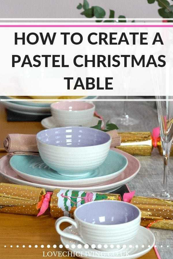 If you want an alternative Christmas table then opt for a pastel table scheme this year. Pretty, festive and colourful, this layout works beautifully with gold accessories, cutlery and candles. A great way to create a non-traditional festive table #alternativechristmastable #christmastable #pasteltable #pastelchristmas #lovechicliving