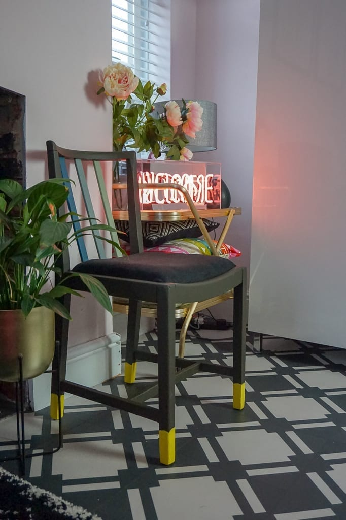 If you're looking for ways to refurbish old furniture, check out this project on an upcycled chair. Originally made as utility furniture in the 1940s it was in a sorry state, but using a modern paint palette, it's been totally transformed #upcycling #budgetfurniture #cheapchair #chairrevamp #lovechicliving