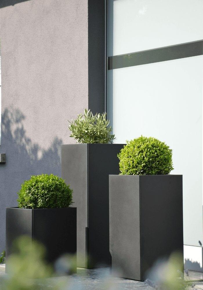 contemporary front door planters