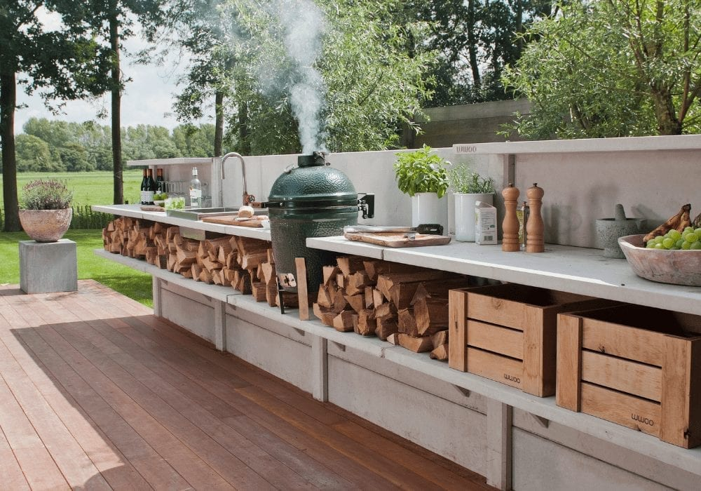 outdoor kitchen on a decking area