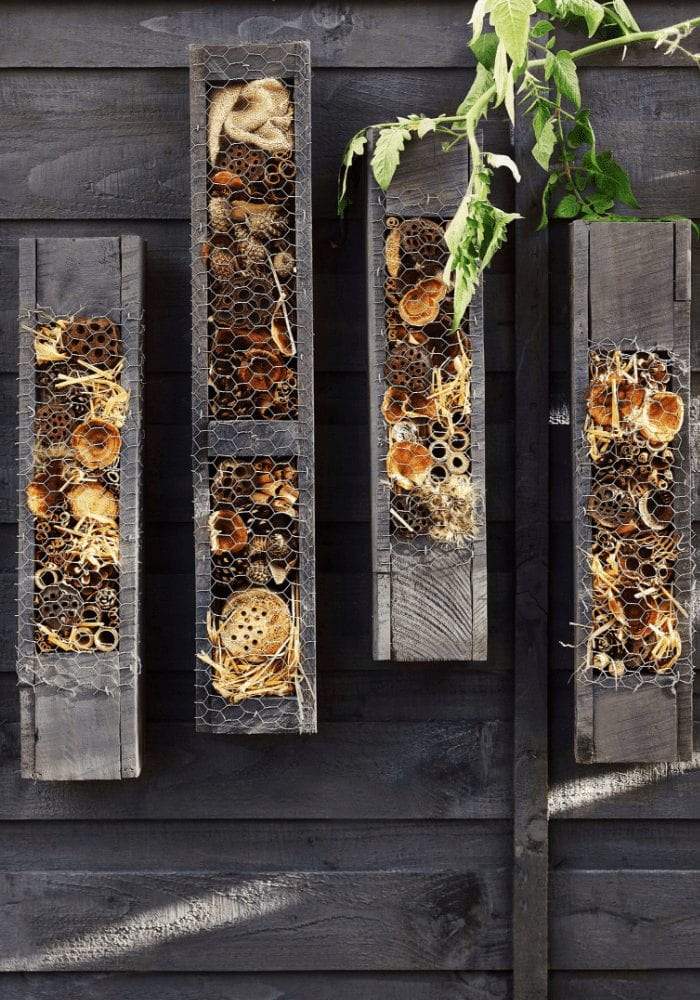 bee hotel on a fence