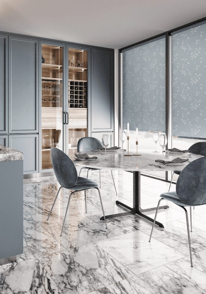 grey kitchen with table, chairs and smart window blinds