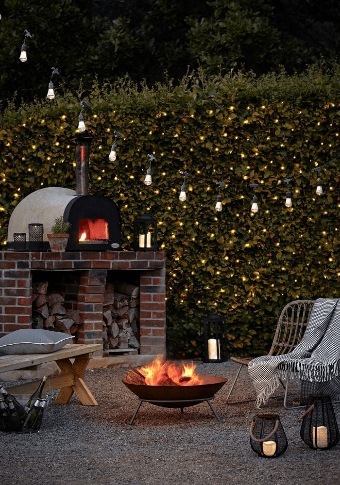 garden lighting and fire pit