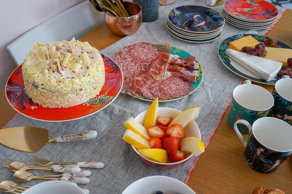 TAble of food on colourful tableware