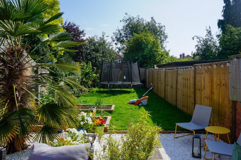 stihl lawn mower in medium sized garden
