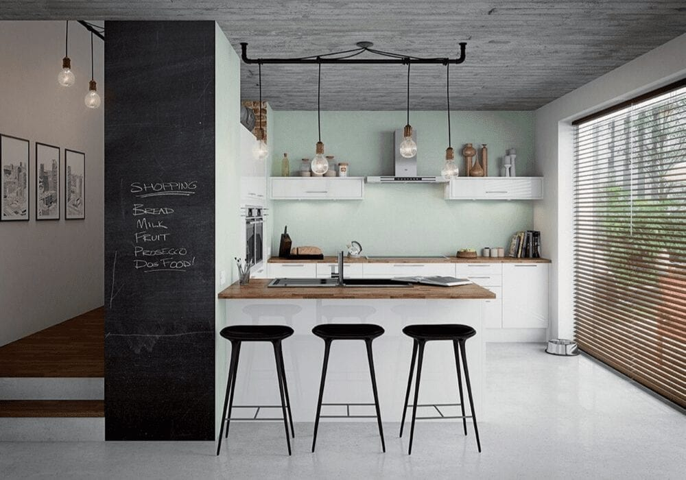 small mint and white kitchen