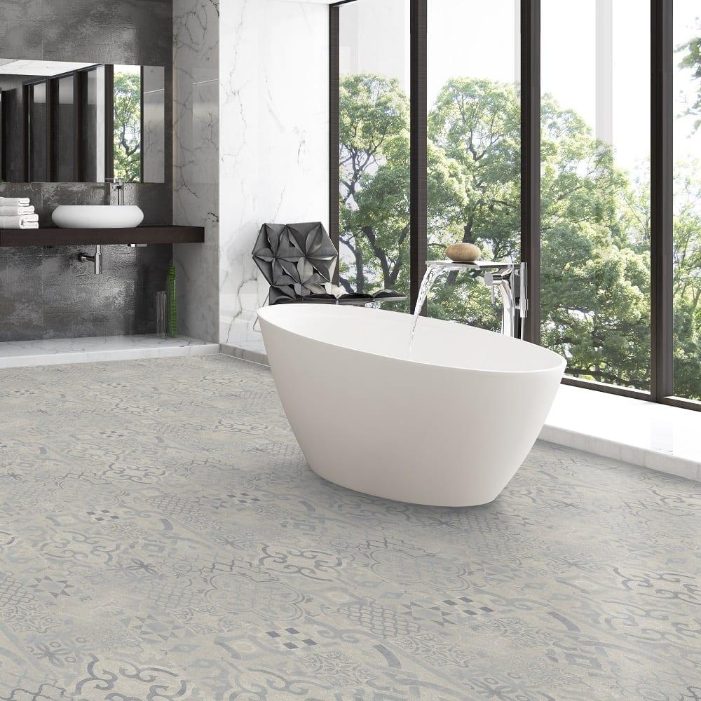 pretty laminate tiles on bathroom floor