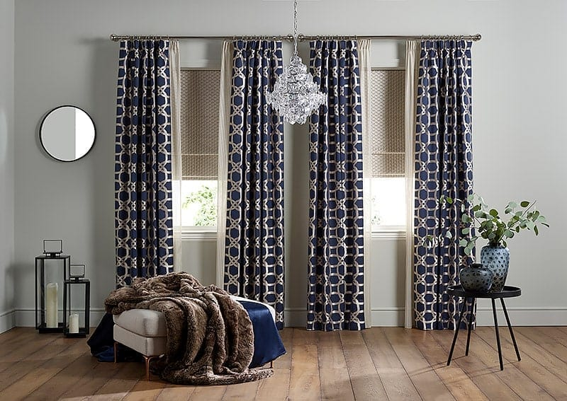 long made to measure blinds and curtains at a large window