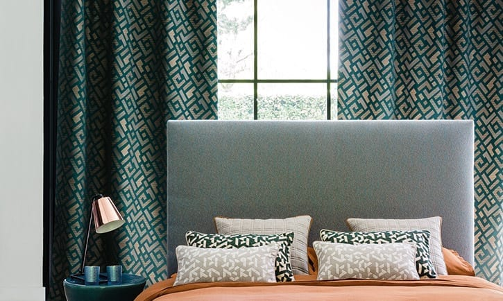 made to measure blinds and curtains with a bedhead