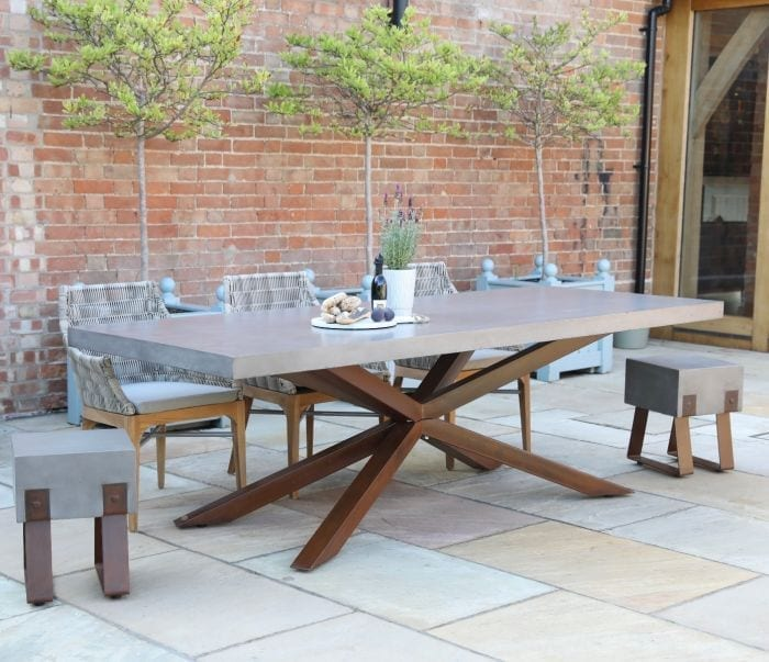 Large concrete outdoor table
