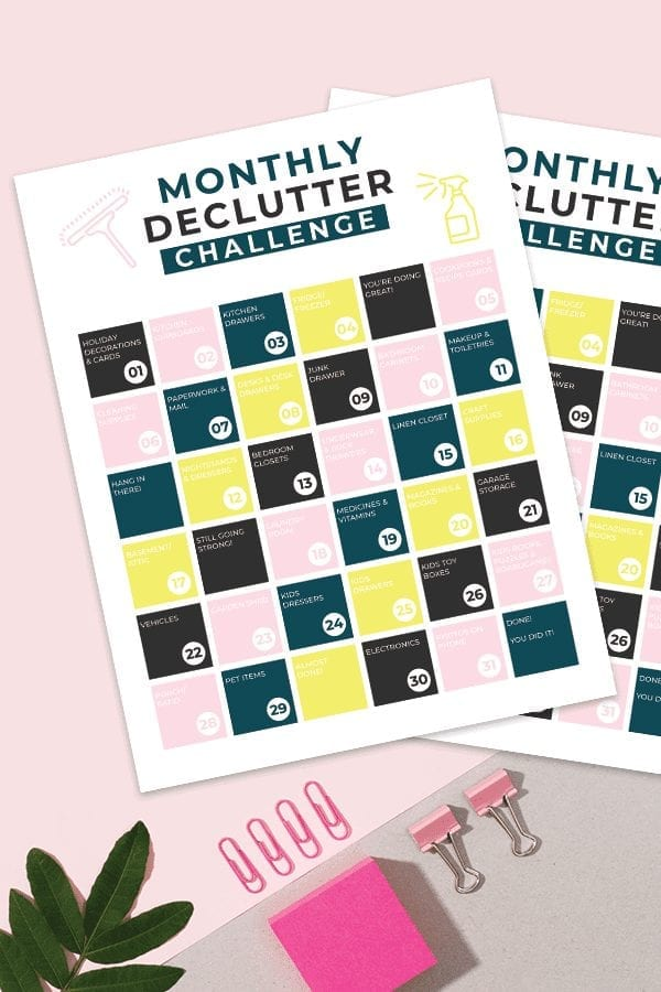 declutter your home 30 day challenge printable