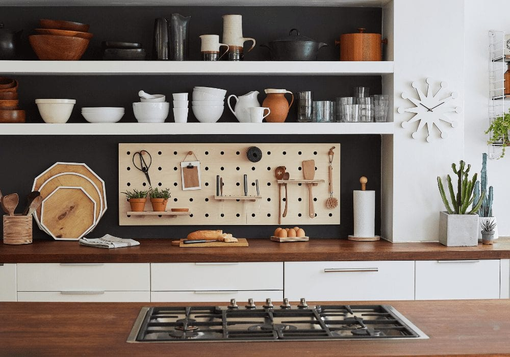kitchen hob with shelving and eco friendly peg board