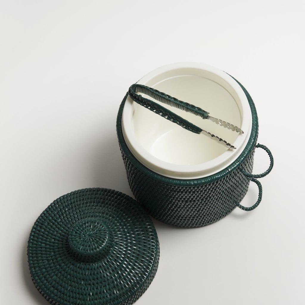 Green rattan ice bucket