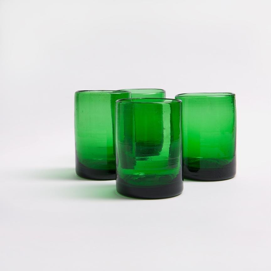 Green drinking glasses