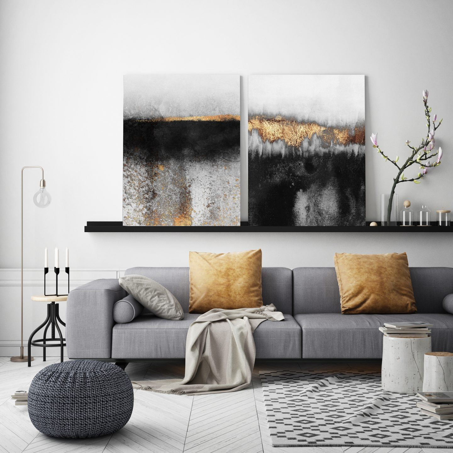 Metal prints on a shelf in a white living room with grey accessories